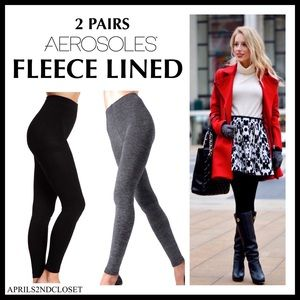 2 FLEECE LINED FOOTLESS TIGHTS LEGGINGS A2C